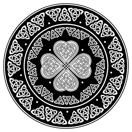 germanic: Celtic shield, decorated with a ancient European pattern, isolated on white, vector illustration Illustration