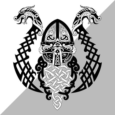 Odin, Wotan. Old Norse and Germanic mythology God in Viking Age, isolated on white, vector illustration  イラスト・ベクター素材