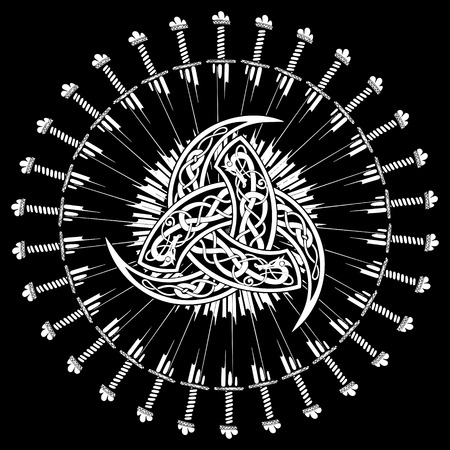 Triple Horn of Odin decorated with ornaments in the circle of combat swords of the Vikings, vector illustration