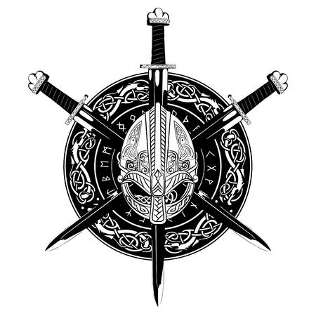 Viking helmet, crossed viking sword and in a wreath of Scandinavian pattern and viking shield, vector illustration