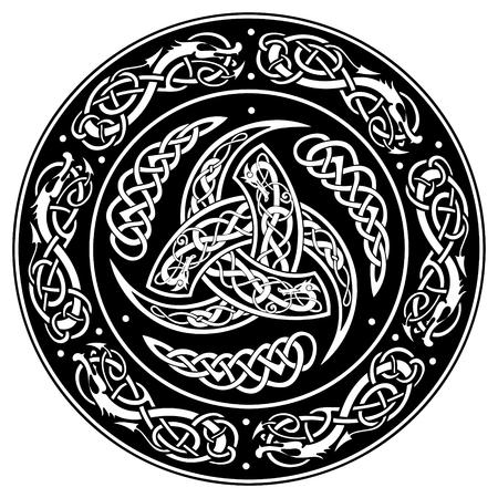 Keltisch schild, dat met een oud Europees patroon wordt verfraaid, dat op witte, vectorillustratie wordt geïsoleerd