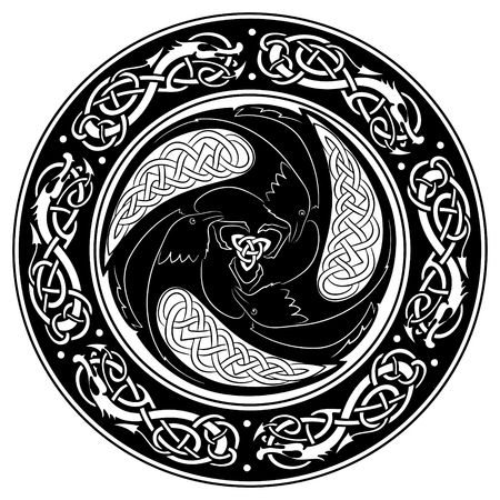 germanic people: Viking shield, decorated with a Scandinavian pattern and Ravens of God Odin. Huginn and Muninn, isolated on white, vector illustration
