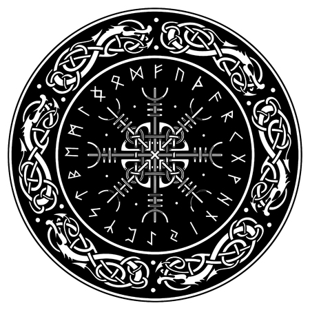 Viking shield, decorated with a Scandinavian pattern of dragons and Aegishjalmur, Helm of awe (helm of terror), Icelandic magical staves, isolated on white, vector illustration Illustration