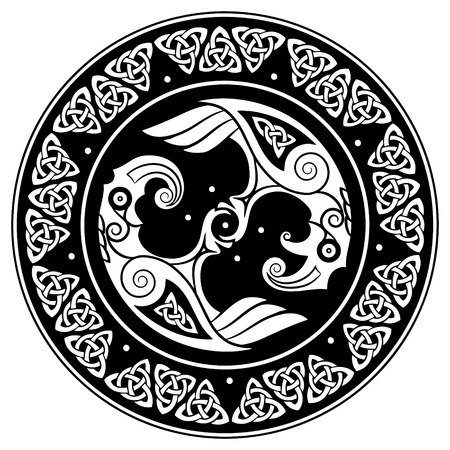 Viking shield, decorated with a Scandinavian pattern and Ravens of God Odin. Huginn and Muninn, isolated on white, vector illustration