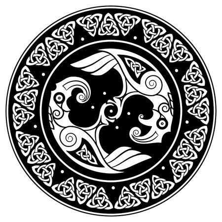 Vikingschild, versierd met een Scandinavisch patroon en Ravens of God Odin. Huginn en Muninn, geïsoleerd op witte, vectorillustratie Stock Illustratie