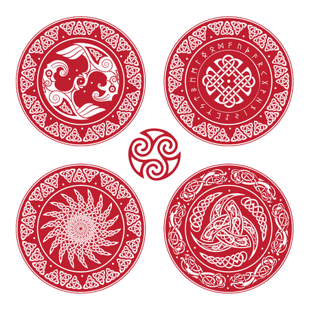 Set Viking shield, decorated with a Scandinavian pattern of dragons and Aegishjalmur, Helm of awe (helm of terror), Icelandic magical staves, isolated on white, vector illustration