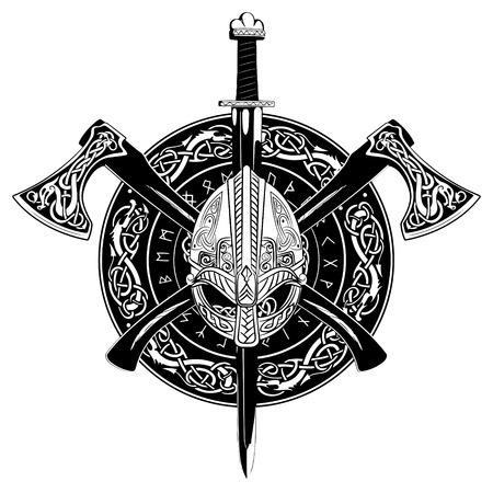 Casco vikingo, ejes vikingos cruzados y en una corona de patrón escandinavo y escudo vikingo, ilustración vectorial Ilustración de vector
