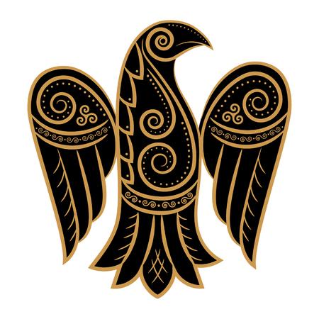 Raven in Celtic, Scandinavian style, isolated on white, vector illustration
