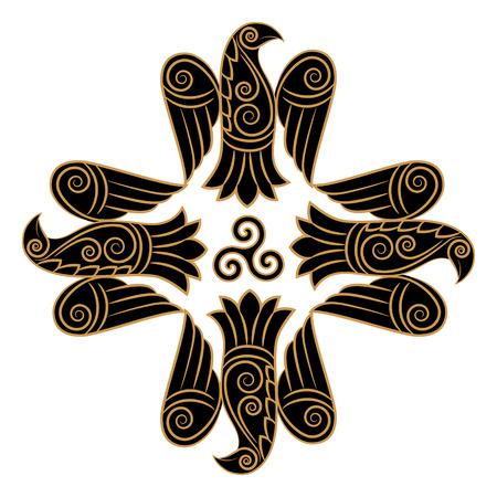 Design of Raven in Celtic, Scandinavian style, isolated on white, vector illustration