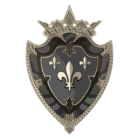 Medieval heraldic knight shield with crown and heraldic Lily, isolated on white, vector illustration, eps-10