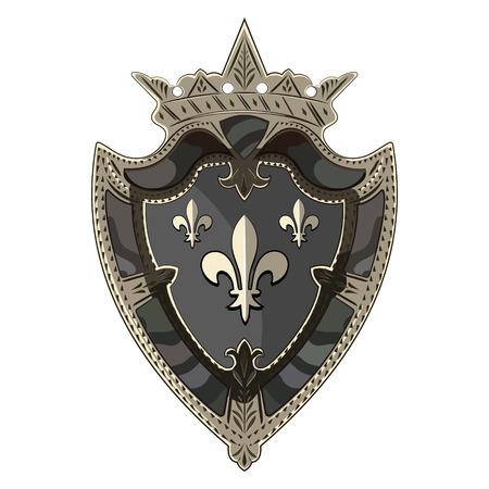 Medieval heraldic caballero escudo con corona y heraldic Lily, aislado en blanco, ilustración vectorial, eps-10