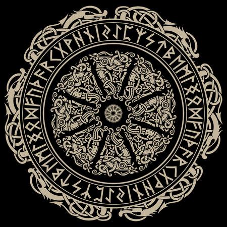 Ancient Scandinavian ornament, shield viking and Scandinavian runes, isolated on black. Illustration