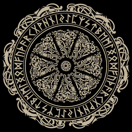 Ornamento escandinavo antiguo, escudo vikingo y runas escandinavas, aisladas en negro.