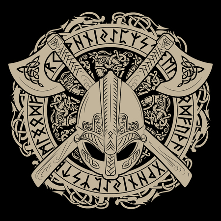 Casco Vikingo, hachas cruzadas de vikings y en una corona de patrones escandinavos y runas nórdicas.