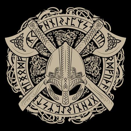 Vikinghelm, gekruiste vikingbijlen en in een krans van Scandinavisch patroon en Noorse runen. Stock Illustratie