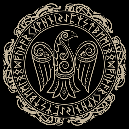 Design of Raven in Celtic, Scandinavian style and Norse runes. Illustration