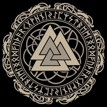 Nogal, signo de Dios Odín, decorado con adornos en una corona de tejer escandinavo y runas nórdicas. Ilustración de vector