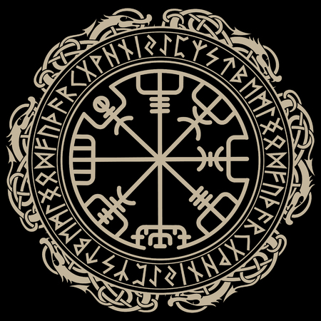 Viking design, magical runic compass Vegvisir, in the circle of Norse runes and dragons.