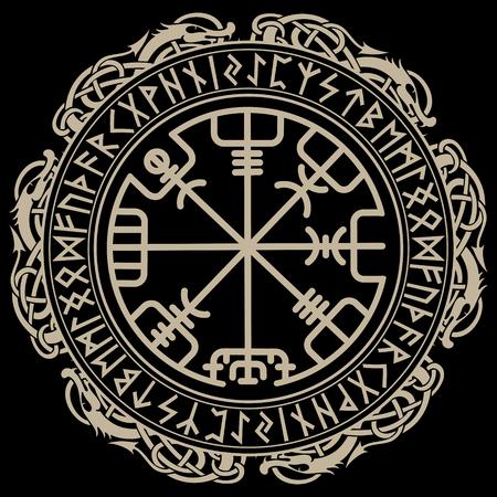 Vikingontwerp, magisch runenkompas Vegvisir, in de cirkel van Noorse runen en draken.