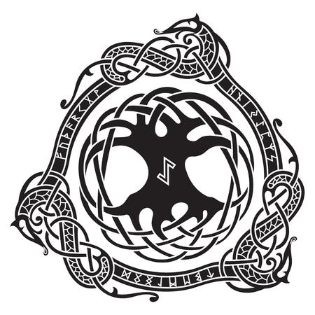 Yggdrasil. Diseño escandinavo. El árbol Yggdrasil en patrón nórdico, ilustración vectorial