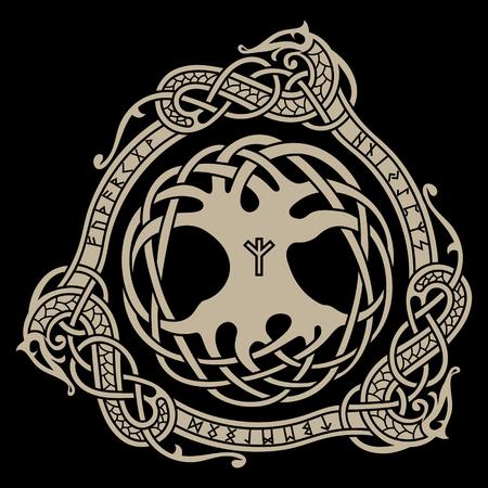 Yggdrasil. Diseño escandinavo. El árbol Yggdrasil en patrón nórdico, ilustración vectorial Ilustración de vector