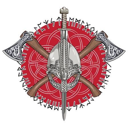 Viking helmet, crossed viking axes and in a wreath of Scandinavian pattern and Norse runes, vector illustration  イラスト・ベクター素材