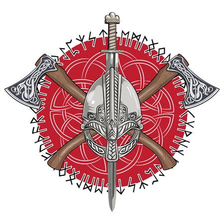 Vikinghelm, gekruiste vikingassen en in een krans van Scandinavisch patroon en Noorse runen, vectorillustratie