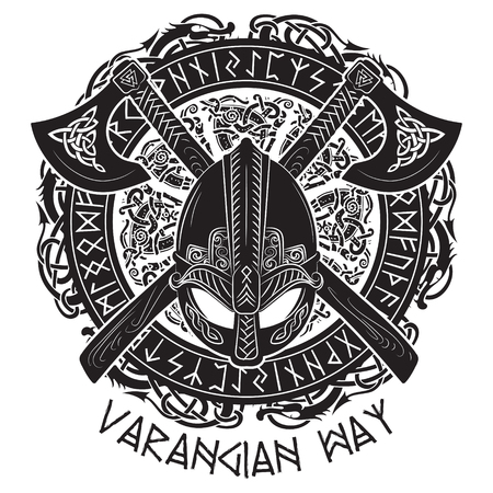 Viking helmet, crossed viking axes and in a wreath of Scandinavian pattern and Norse runes, vector illustration Vectores