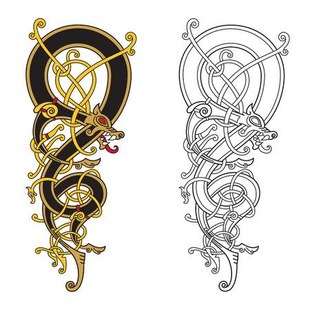 ケルト、北欧ビンテージ パターンが白、ベクトル図で隔離、ツイストのドラゴンの形で