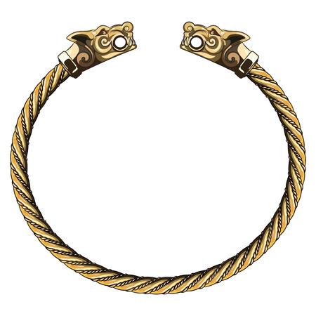 scandinavia: Bronze Viking bracelet with wolf heads, isolated on white, vector illustration Illustration