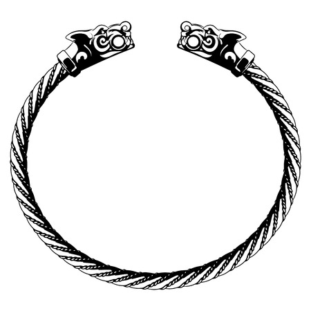 Viking bracelet with wolf heads, isolated on white, vector illustration