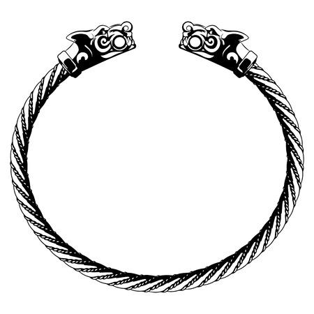 Viking-armband met wolfshoofden, op witte, vectorillustratie worden geïsoleerd die
