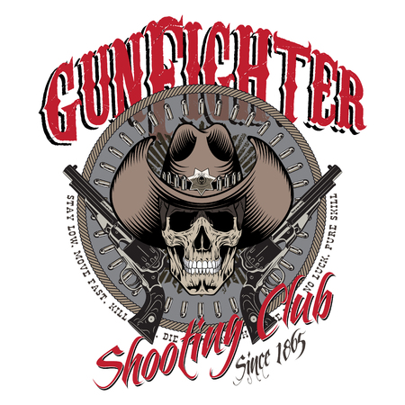 Design Gunfighter. Skull in cowboy hat, two crossed gun and bullets, isolated on white, vector illustration, eps-10 Illustration