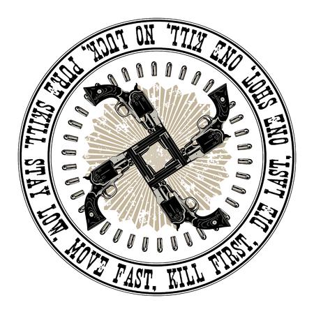gunfighter: Design Gunfighter. Four crossed gun in a circle of bullets, isolated on white, vector illustration Illustration