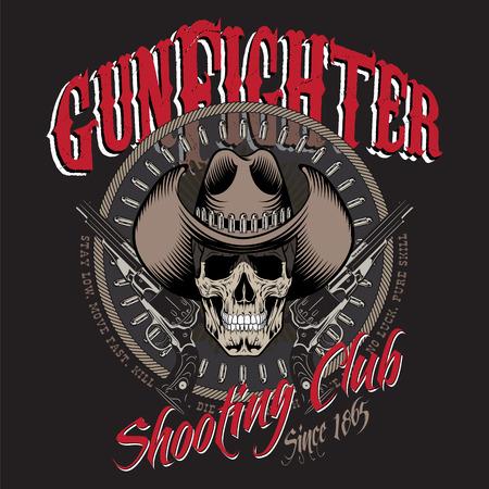 gunfighter: Design Gunfighter. Skull in cowboy hat, two crossed gun and bullets, isolated on black, vector illustration,