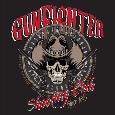 Design Gunfighter. Skull in cowboy hat, two crossed gun and bullets, isolated on black, vector illustration,