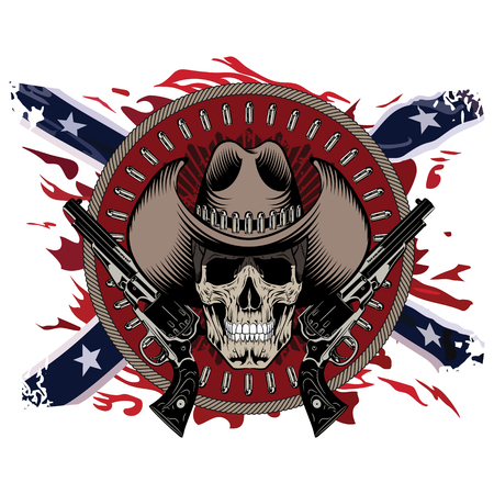 Design Gunfighter. Skull in cowboy hat, two crossed gun and bullets, on the backdrop of the American Confederate flag, isolated on white, vector illustration