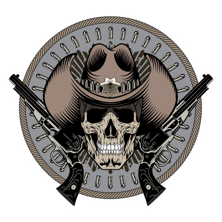 Design Gunfighter. Skull in cowboy hat, two crossed gun and bullets, isolated on white, vector illustration Stock Photo