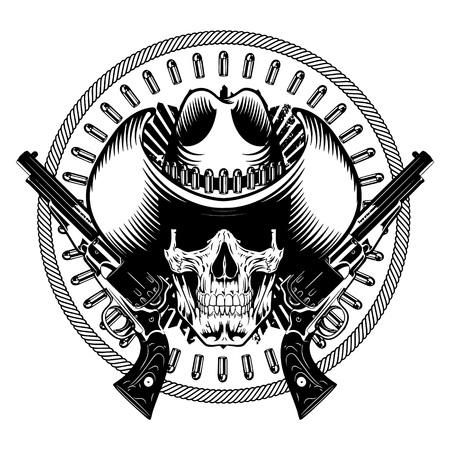 American cowboy design. Skull in cowboy hat, two crossed gun and bullets, isolated on white, vector illustration