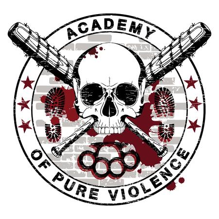 Ontwerp van een schedel en twee gekruiste honkbalknuppels bedekt met prikkeldraad, boksbeugels en de inscriptie - Academie van puur geweld, geïsoleerd op witte vectorillustratie