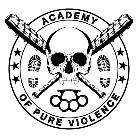 Design of a skull and two crossed baseball bats covered with barbed wire, brass knuckles and the inscription - Academy of pure violence, isolated on white vector illustration