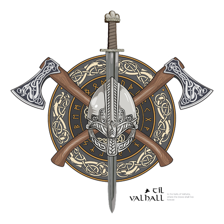 Viking helmet, crossed viking axes and in a wreath of Scandinavian pattern and viking shield