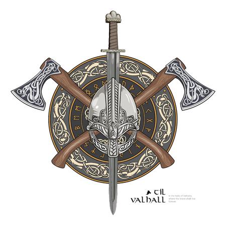 Wikingerhelm, überkreuzte Wikingeräxte und in einem Kranz aus skandinavischem Muster und Wikingerschild Standard-Bild - 84407604
