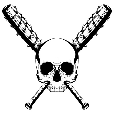 A human skull and two crossed baseball bats covered with barbed wire, isolated on white, vector illustration