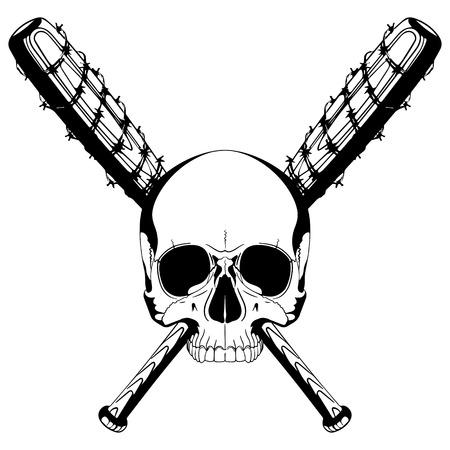 人間の頭蓋骨および有刺鉄線、白で隔離で覆われている 2 つの交差の野球用バットのベクトル イラスト