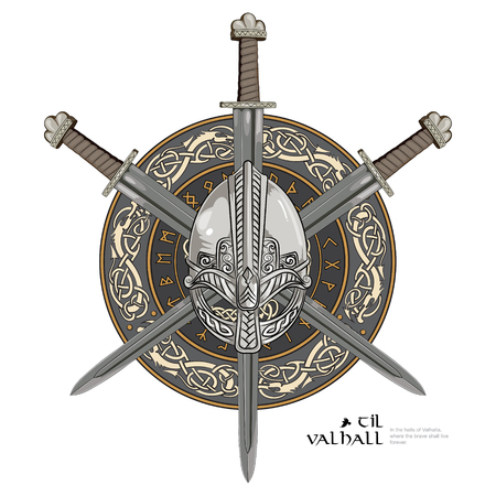 Viking helmet, crossed viking sword and in a wreath of Scandinavian pattern and viking shield, vector illustration