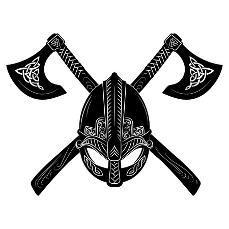 Viking helmet, crossed viking axes and Scandinavian pattern Stock Photo