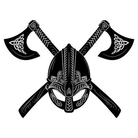 Viking helmet, crossed viking axes and Scandinavian pattern Standard-Bild