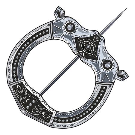 Broche Fibula. Middeleeuwse Viking, Keltische, Germaanse traditionele decoratie, sluiting voor een mantel, geïsoleerd op wit, vectorillustratie