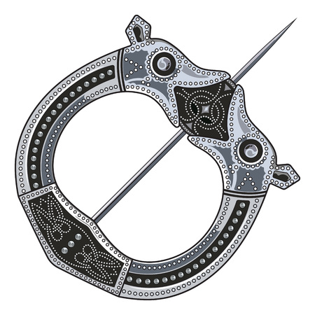 germanic people: Brooch Fibula. Medieval Viking, Celtic, Germanic traditional decoration, clasp for a cloak, isolated on white, vector illustration